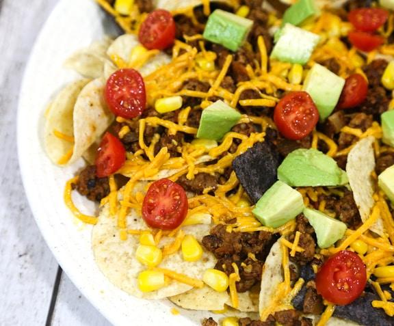 """Easy """"beefy"""" vegan nachos grandes"""
