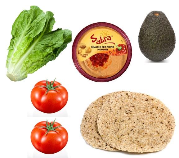 Hummus and avocado wrap ingredients