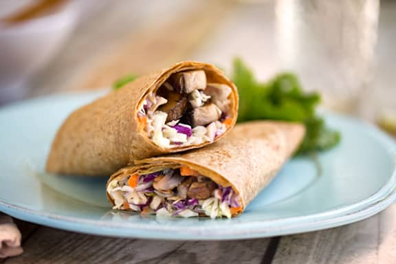 Portobello and coleslaw wraps