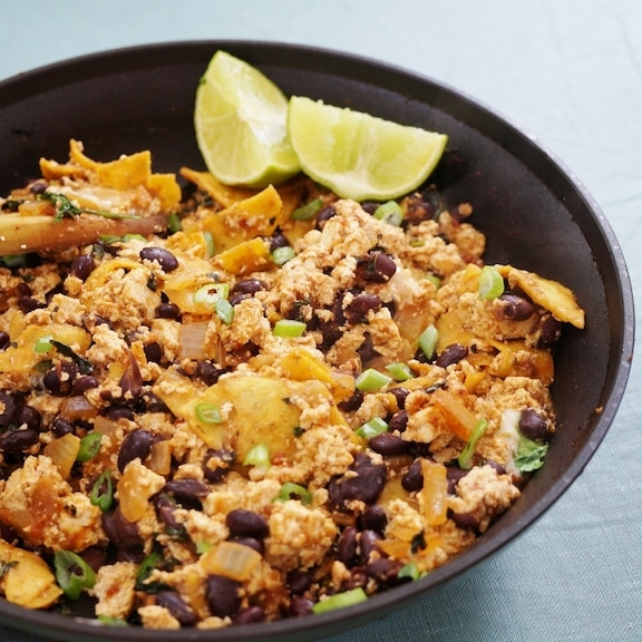 Tortilla and black bean scrambled tofu
