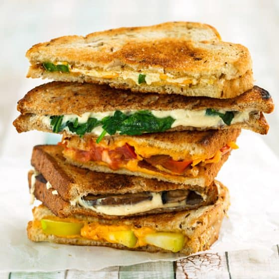 Vegan grilled cheese sandwich stack