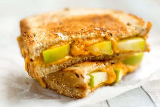 Vegan grilled cheese sandwich with apple