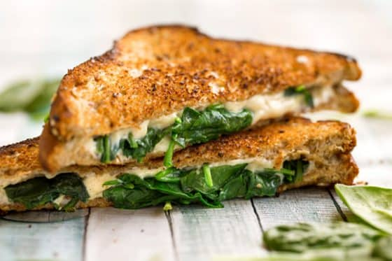 Vegan grilled cheese sandwich with spinach