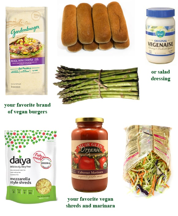 Vegan meatball sub dinner ingredients