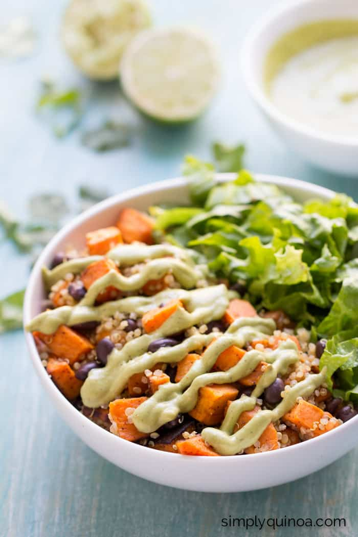 chili roasted sweet potato black bean quinoa salad