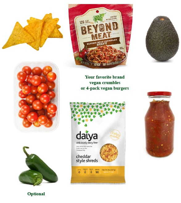 vegan nachos grandes ingredients