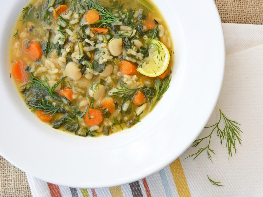 spring kale and dill soup with rice