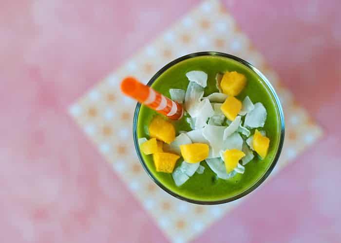vegan mango coconut green smoothie