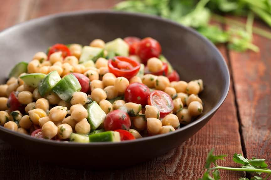 Cucumber, tomato, chickpea salad