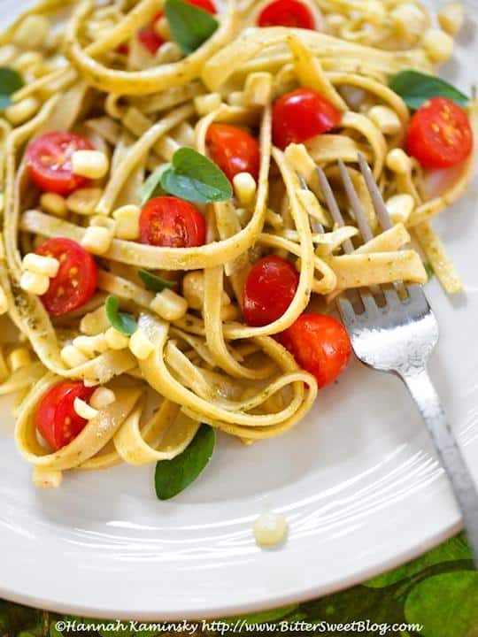 Fresh corn and aquafaba pasta
