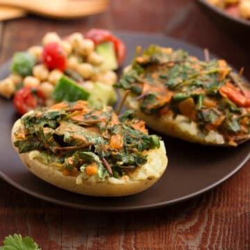 Greens-stuffed curried potato dinne