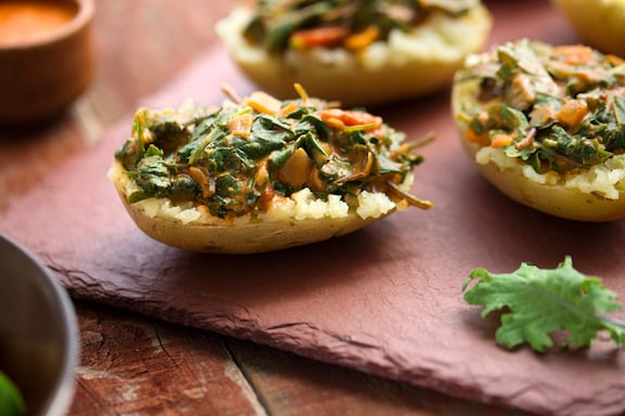 Spinach potato curry stuffed potatoes