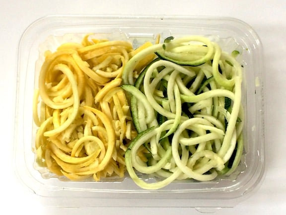 Spiralized zucchini and yellow squash
