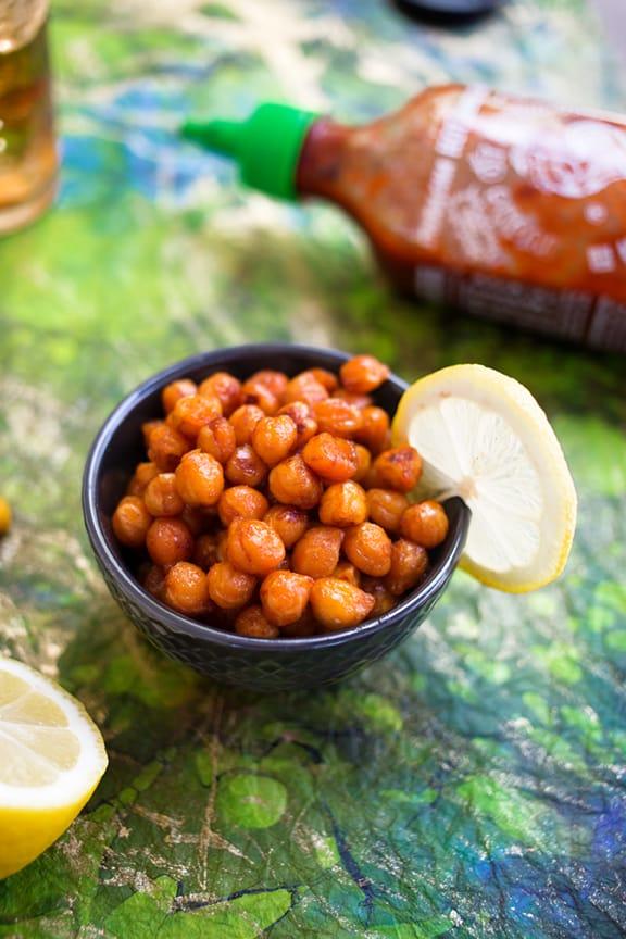 Sriracha-lemon skillet-roasted chickpeas