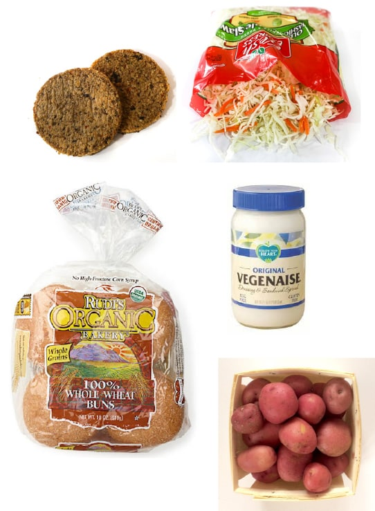 Veggie burger dinner ingredients