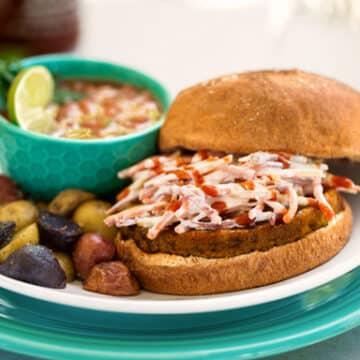 Quick vegan burger and gazpacho dinner