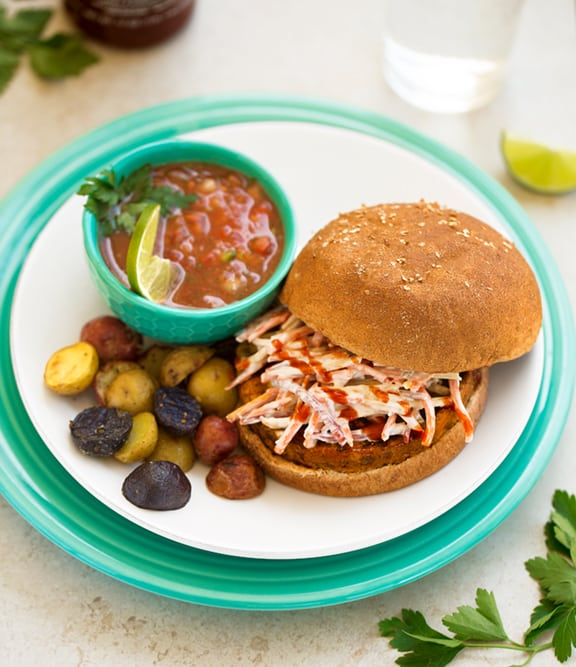 Veggie burger with carrot slaw