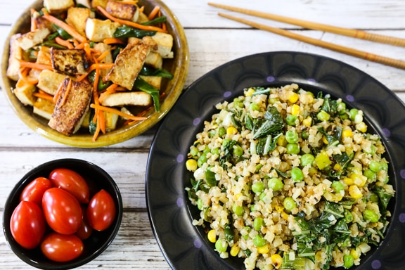 auliflower fried rice and tofu dinner