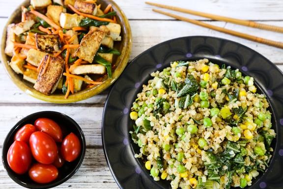 auliflower fried rice and tofu dinner