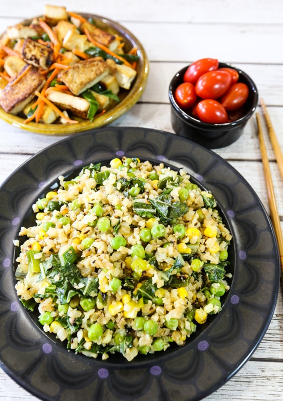 Cauliflower fried rice and tofu dinner menu
