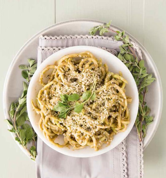 Creamy Pesto Zucchini Noodles recipe