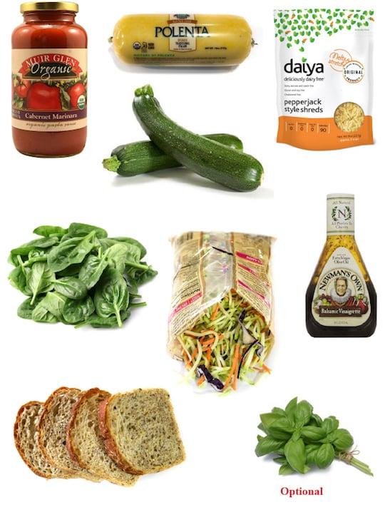 Polenta Zucchini casserole dinner ingredients