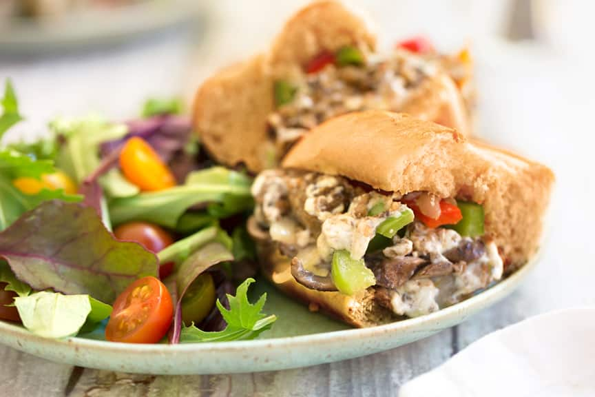 Vegan Philly Cheesesteak dinner
