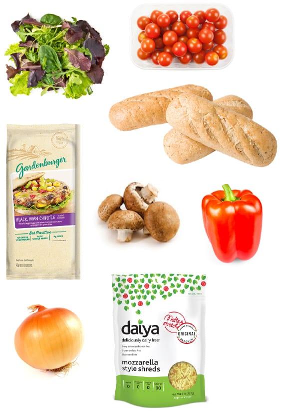 Vegan Philly cheesesteak ingredients