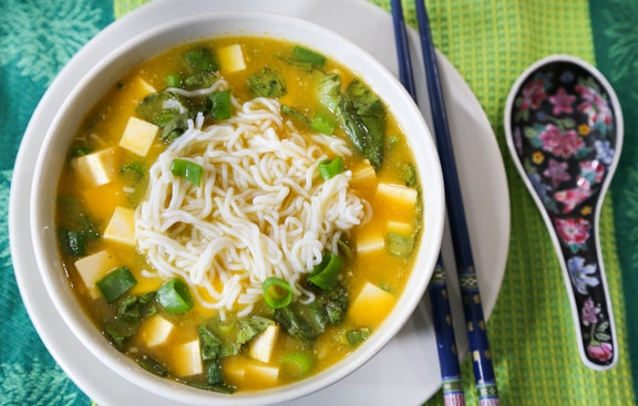 Vegan miso soup with shirataki noodles
