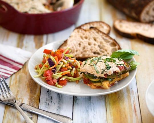 Polenta, Zucchini Marinara casserole dinner2