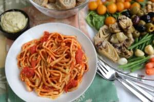 Vegan Antipasto Platter & Pasta Dinner