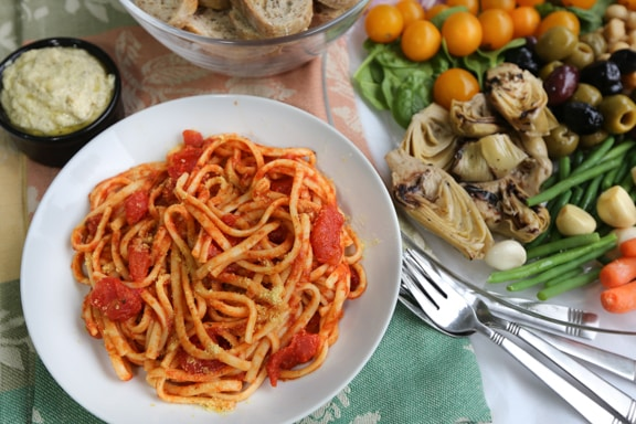 Vegan antipasto platter & pasta