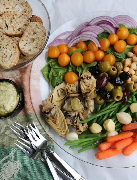 Vegan antipasto platter & pesto