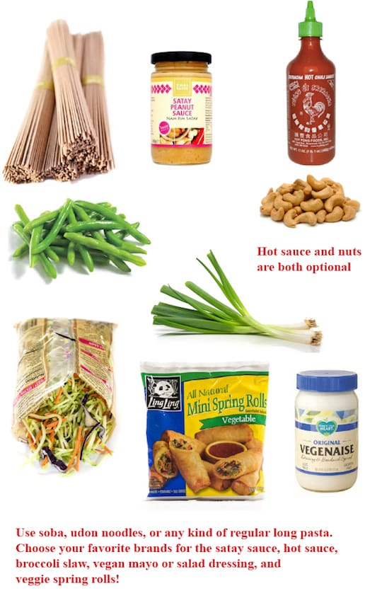 Peanut noodle dinner ingredients