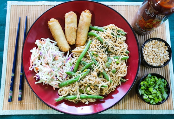 Peanut noodles dinner