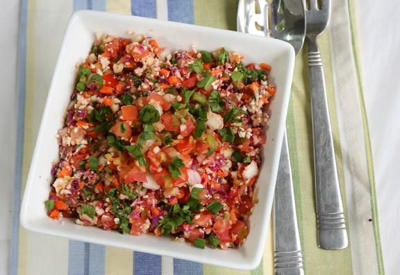 Rainbow veggie rice tabbouli