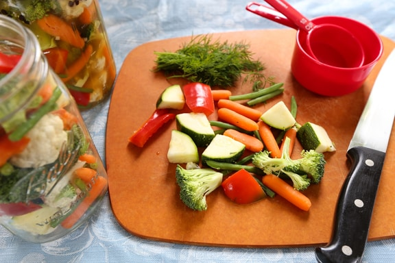 Quick Pickled Vegetables prep
