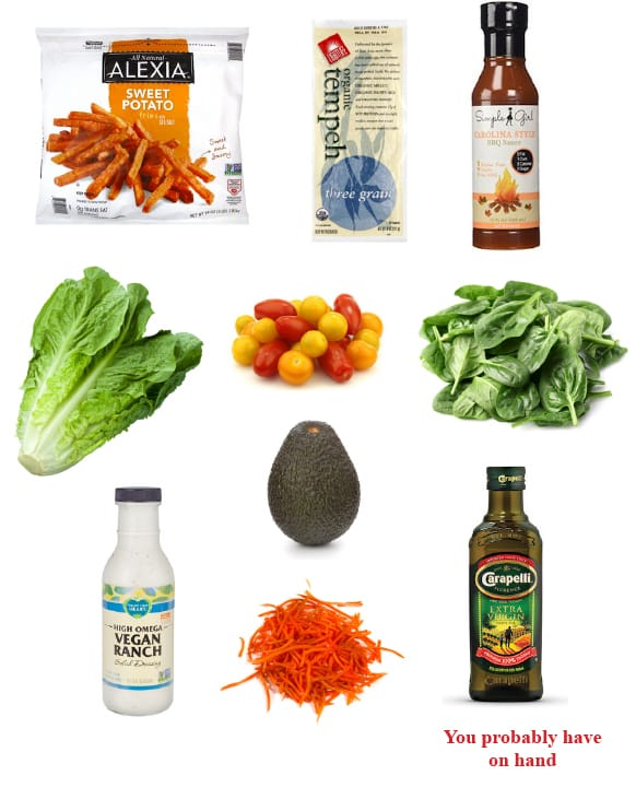 Vegan dinner hacks - BBQ Tempeh salad dinner ingredients