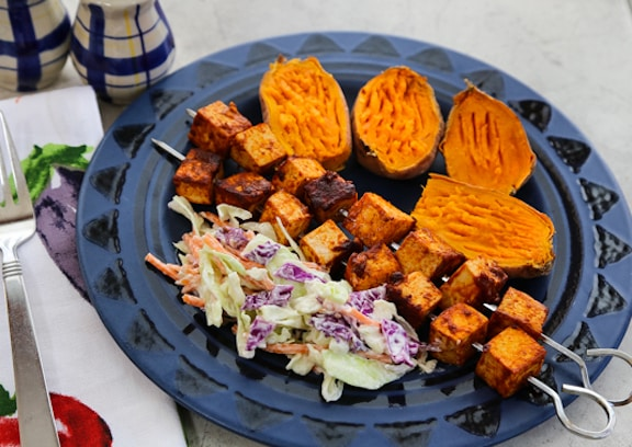 Stovetop BBQ Tofu Skewers dinner