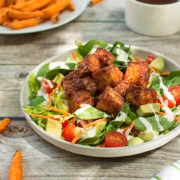 BBQ tempeh salad dinner
