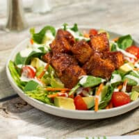 BBQ tempeh salad with creamy ranch dressing