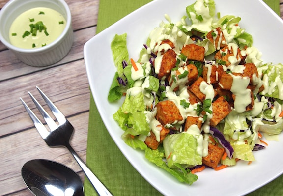 buffalo tempeh salad with creamy vegan ranch dressing