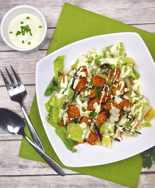buffalo tempeh salad with creamy vegan ranch dressing by Dianne Wenz