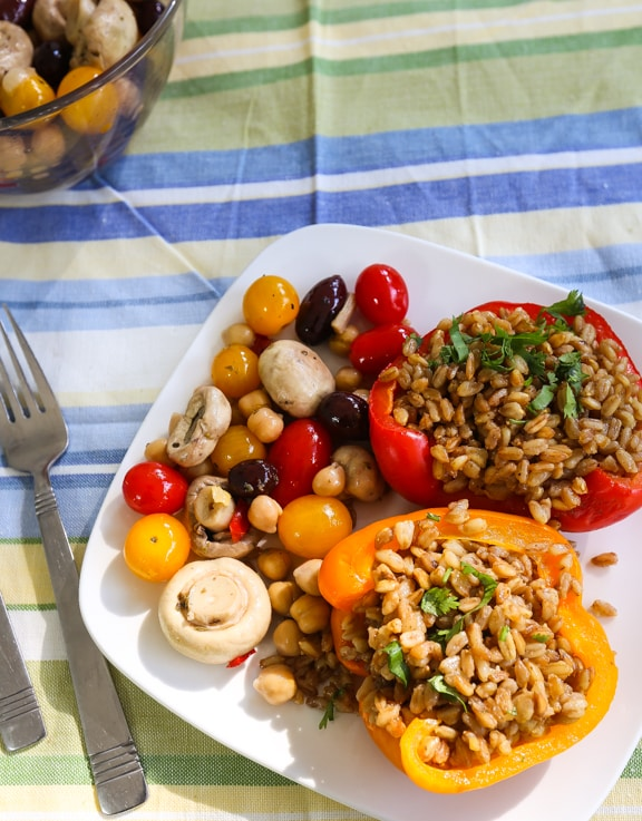 Quick Farro-Stuffed peppers