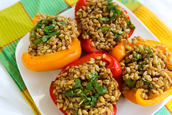 Farro-Stuffed peppers