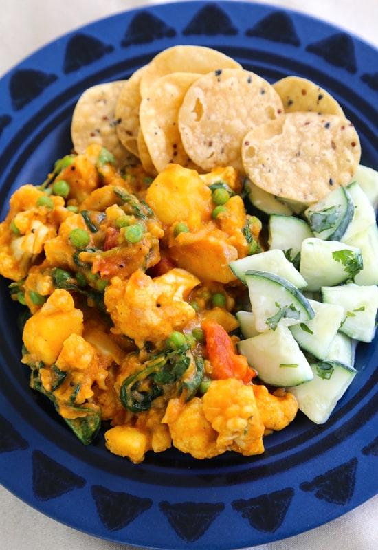 Vegetables masala dinner