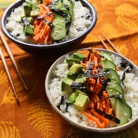Cauliflower rice sushi bowl