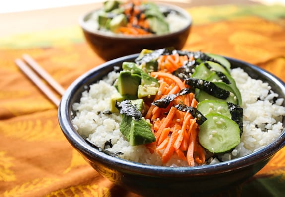 Cauliflower rice sushi bowl recipe
