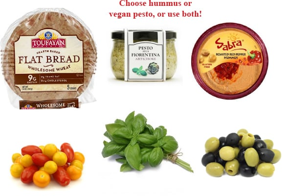 Pesto or Hummus Flatbread ingredients