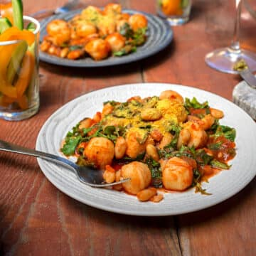 Gnocchi with beans and greens